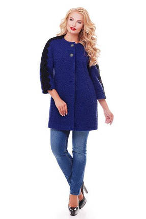 Женское пальто из букле с кружевом / размер 50-52 / цвет кобальт большие размеры, фото 2