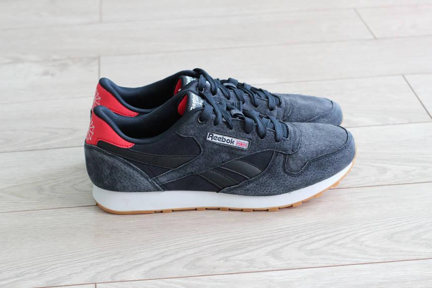 Мужские замшевые кроссовки Reebok Classic Leather темно-синие (реплика)