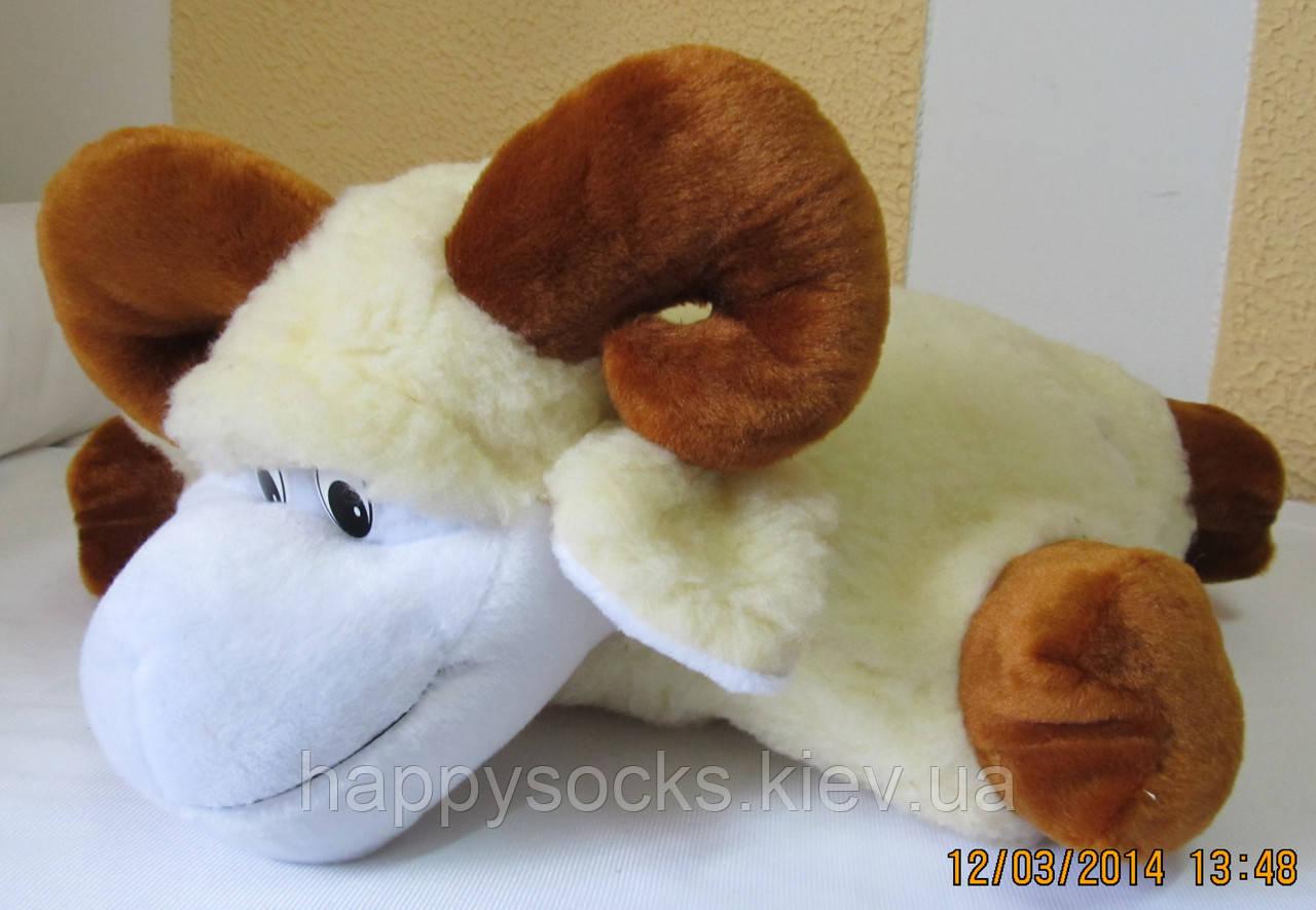 Подушка-игрушка из овечьей шерсти декоративная Баранчик