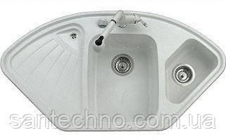 Угловая гранитная мойка для кухни с двумя чашами Argo Trapezio White 1060*575*190(белая)
