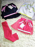 Трикотажные легинсы с тёплой юбкой для девочек 98-128 см