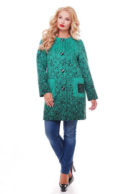 Женское кашемировое пальто на осень / размер 54,56 / цвет бирюза баталл