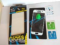 3D Защитное стекло полноэкранное с белыми рамками для Samsung Galaxy A3 (2017) A320