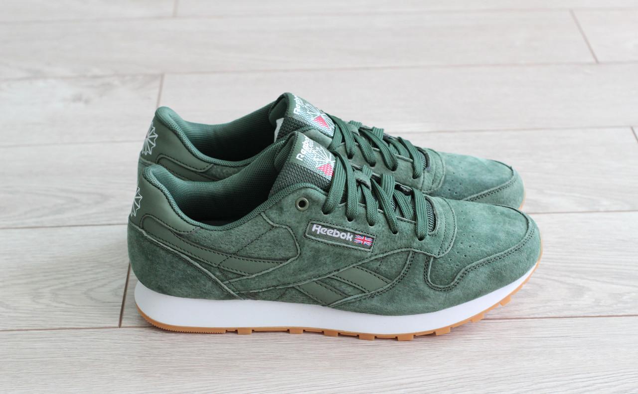 Мужские замшевые кроссовки Reebok Classic Leather зеленые 44р. (реплика)
