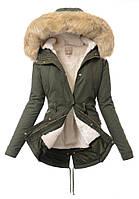 Парка женская хлопковая  2в1 зима-осень с пышной опушкой