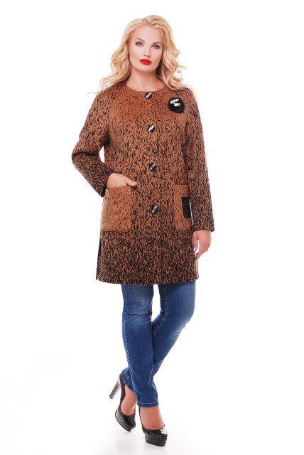 Женское кашемировое пальто на осень / размер 50 / цвет горчица баталл