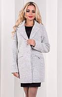 Женское короткое шерстяное пальто светло-серого цвета, коллекция осень 2017