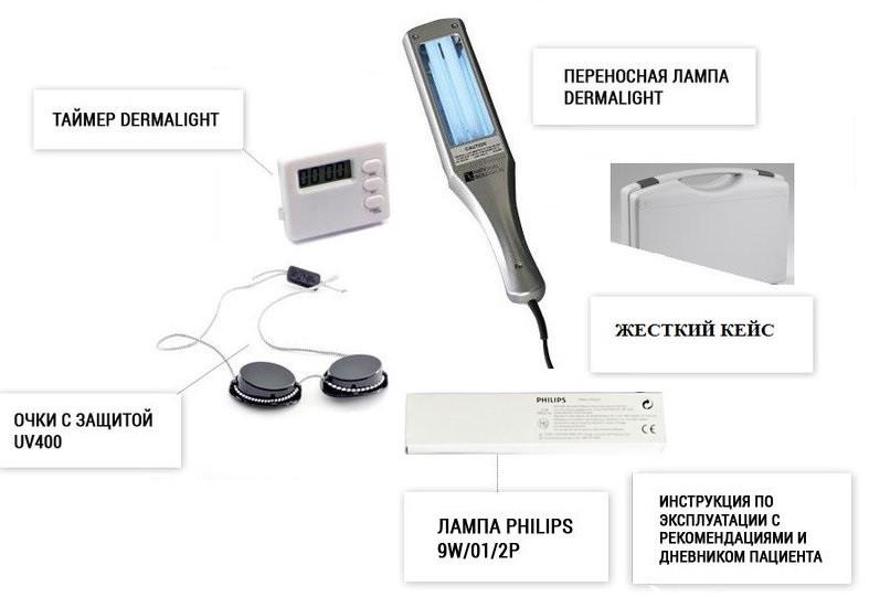 Dermalight 80 UVB311 nm для лечения заболеваний кожи, без насадки-гребня, в жестком кейсе, Dr.K.Honle Германия