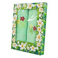 Зеленый набор махровых полотенец Цветник банное и для лица