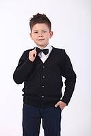 Жакет на пуговицах (кофта, пуловер для мальчика), черный