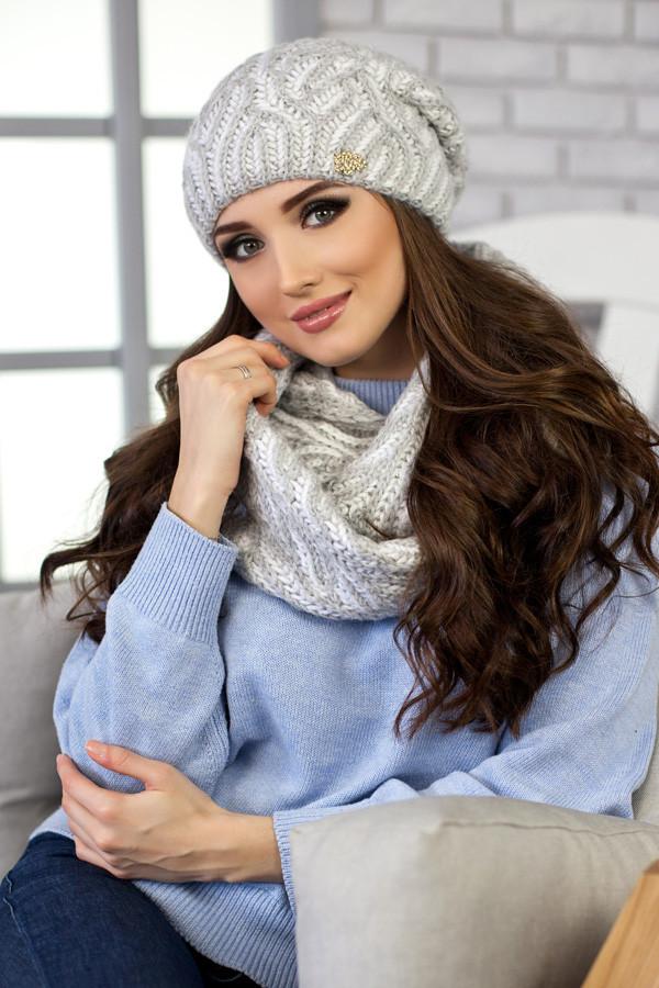 Комплект «Бетти» (шапка и снуд) 4355-8 светло -серый меланж