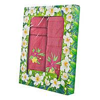 Красный набор махровых полотенец Цветник банное и для лица