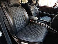 Накидки на передние сидения черные из экокожи (с ушками)