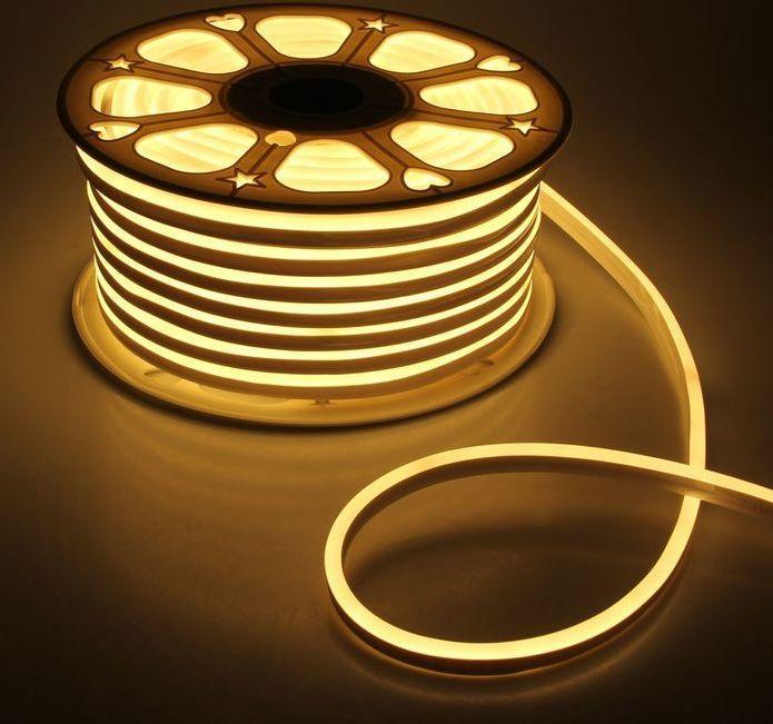 Гибкий LED неон, 220v, ip68, Теплый белый
