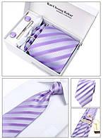 Галстук, запонки, зажим в наборе, фиолетовый в полоску