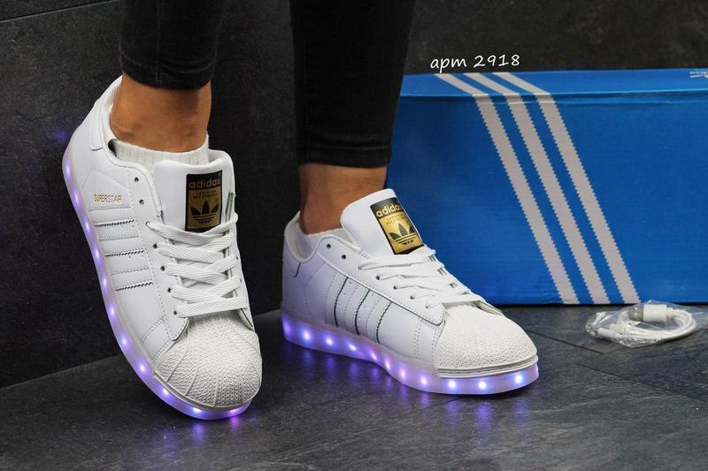 Жіночі кеди Adidas Superstar з LED підсвіткою - білі cc478d2091a32