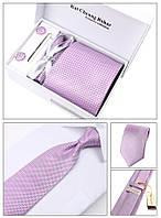 Галстук, запонки, зажим в наборе, фиолетовый