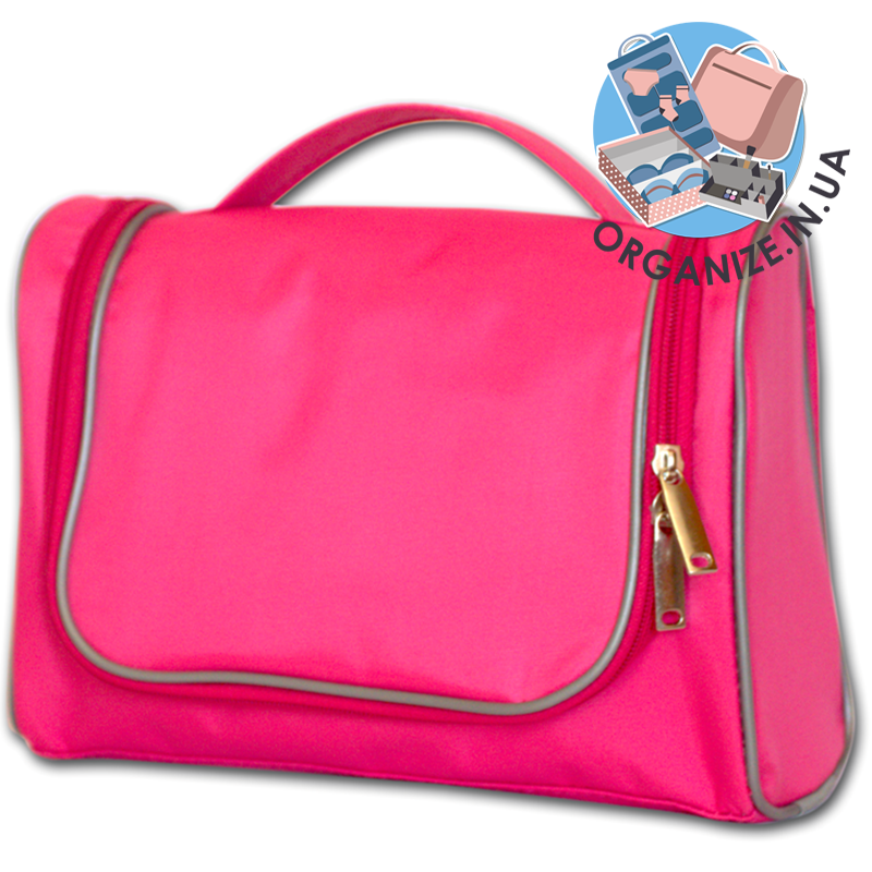 Косметичка дорожная в ванную с крючком Premium (розовый)
