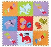 Детский коврик-пазл Baby Great Развлечения динозавров 92х92 см