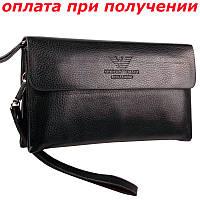 Мужская фирменная кожаная барсетка, клатч, кошелек, портмоне Giorgio Armani