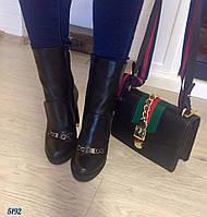 Ботинки демисезон Guccii кожа натуральная кожа, каблук 11 см