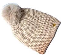 Шапка крупная вязка на флисе с песцовым помпоном размер 54-58