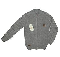 Модная теплая кофта для мальчика (крупная вязка),р.140-164,Турция