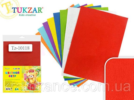 Набор цветного фетра TUKZAR TZ-10118 1 мм 8 листов 8 цветов, фото 2