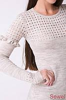 Теплое женское платье приталенное Беж