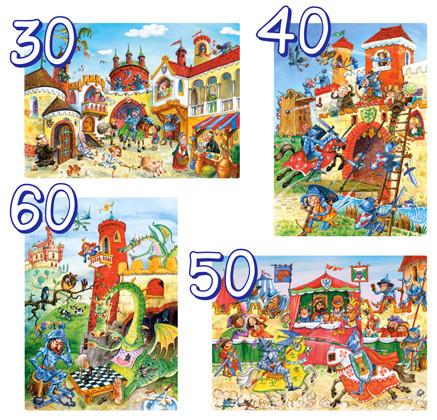 """Пазлы 4 в 1 """"Приключения рыцаря"""" 4xPuzzle(30,40,50,60)"""
