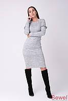 Теплое женское платье приталенное с длинным рукавом и рюшем, фото 1