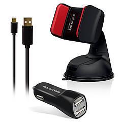 Автодержатель для телефона с кабелем и авто-зарядкой Promate Carkit-HM Black