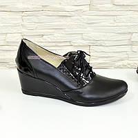Туфли женские кожаные черные на танкетке, декорированы шнуровкой, фото 1