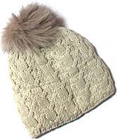 Шапка на флисе крупная вязка с песцовым помпоном размер 54-56