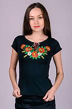 Футболка-вышиванка женская Маки (черная)