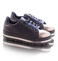 Кроссовки женские синие с серебренным носком 05-10189