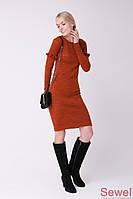 Женское теплое офисное платье по колено с длинным рукавом и рюшем