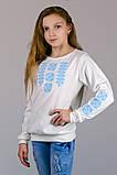 Трикотажная блузка-вышиванка (нежно-голубой орнамент), фото 2