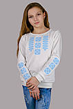 Трикотажная блузка-вышиванка (нежно-голубой орнамент), фото 3