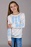 Трикотажная блузка-вышиванка (нежно-голубой орнамент), фото 4