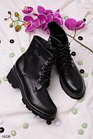 Женские ботинки на шнуровке весна-осень каблук 6 см эко кожа