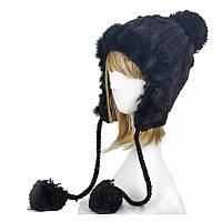 Молодежная черная шапка вязаная