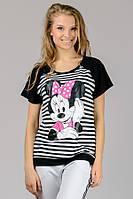 Женская футболка реглан полоска Mause (черная)