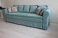 Мягкий диван для кухни в ткани бирюзового цвета