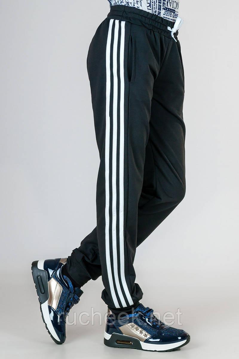 Спортивные штаны подростковые трикотаж_черные