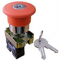 Кнопка «грибок» с фиксацией (1НЗ, возврат ключом) XB2-BS142, АСКО-УКРЕМ, A0140010016
