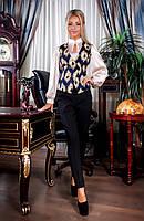 Женский стильный костюм двойка брюки и жилет