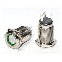 Кнопка металлическая с подсветкой и фиксацией (1НО+1НЗ) 220В зеленая TYJ16-361, АСКО-УКРЕМ, A0140010099