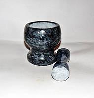 Ступка мраморная с двусторонним пестиком 10,5х10,5см, фото 1
