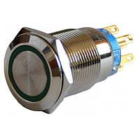 Кнопка металлическая с подсветкой и фиксацией (1НО+1НЗ) 220В зеленая TYJ19-371, АСКО-УКРЕМ, A0140010119